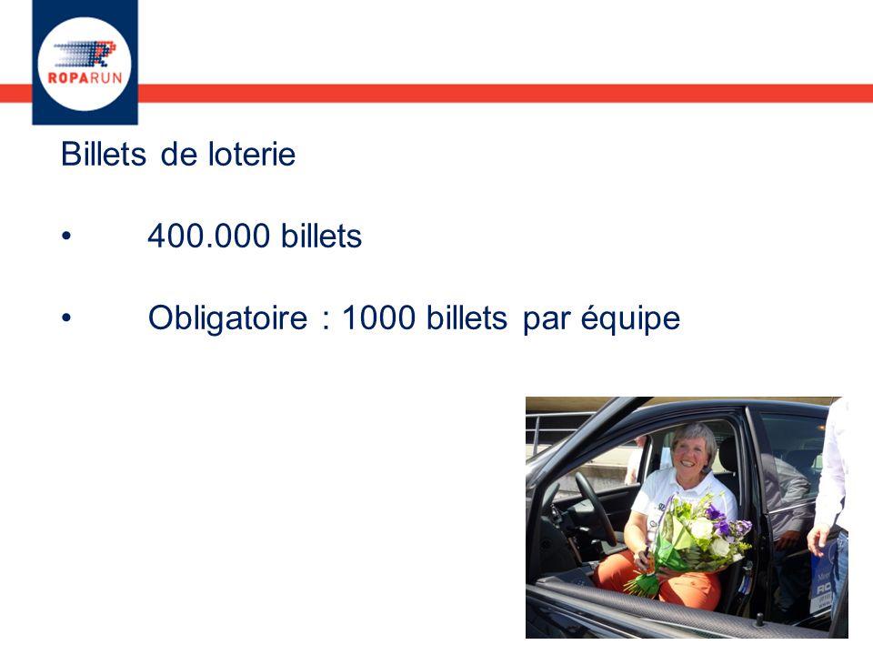 Billets de loterie 400.000 billets Obligatoire : 1000 billets par équipe