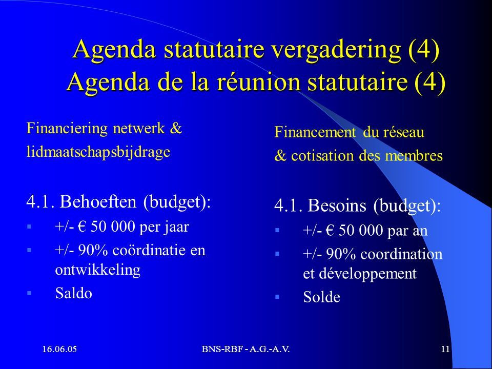 16.06.05BNS-RBF - A.G.-A.V.11 Agenda statutaire vergadering (4) Agenda de la réunion statutaire (4) Financiering netwerk & lidmaatschapsbijdrage 4.1.