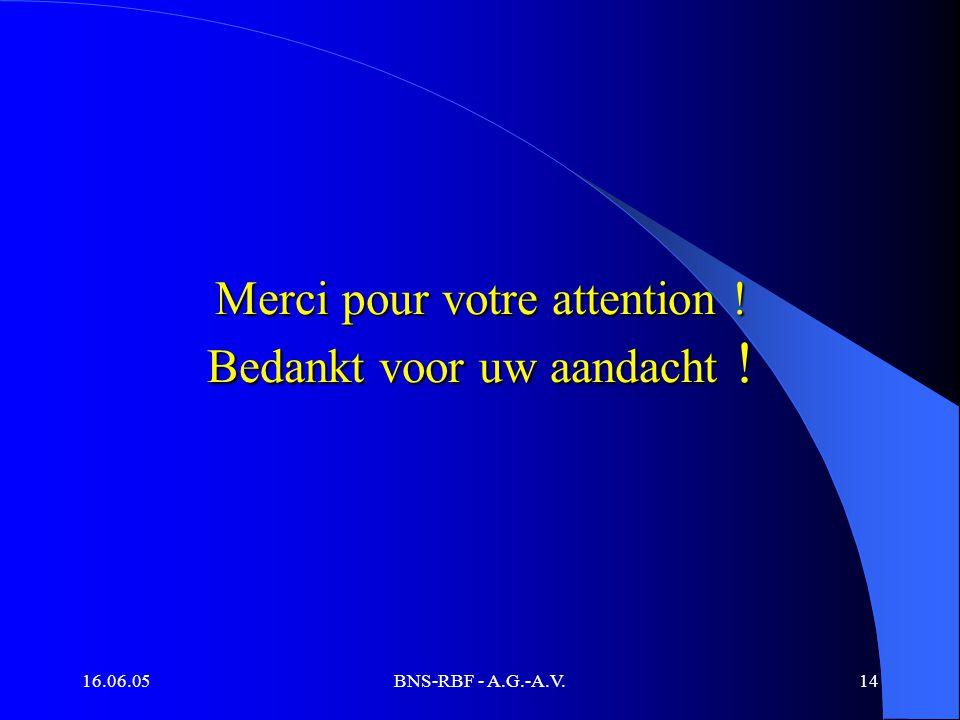 16.06.05BNS-RBF - A.G.-A.V.14 Merci pour votre attention ! Bedankt voor uw aandacht !