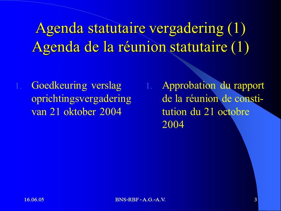 16.06.05BNS-RBF - A.G.-A.V.3 Agenda statutaire vergadering (1) Agenda de la réunion statutaire (1) 1. Goedkeuring verslag oprichtingsvergadering van 2
