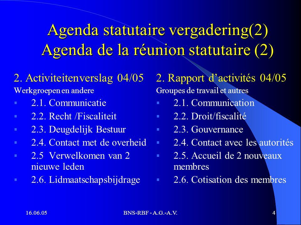 16.06.05BNS-RBF - A.G.-A.V.4 Agenda statutaire vergadering(2) Agenda de la réunion statutaire (2) 2. Activiteitenverslag 04/05 Werkgroepen en andere 