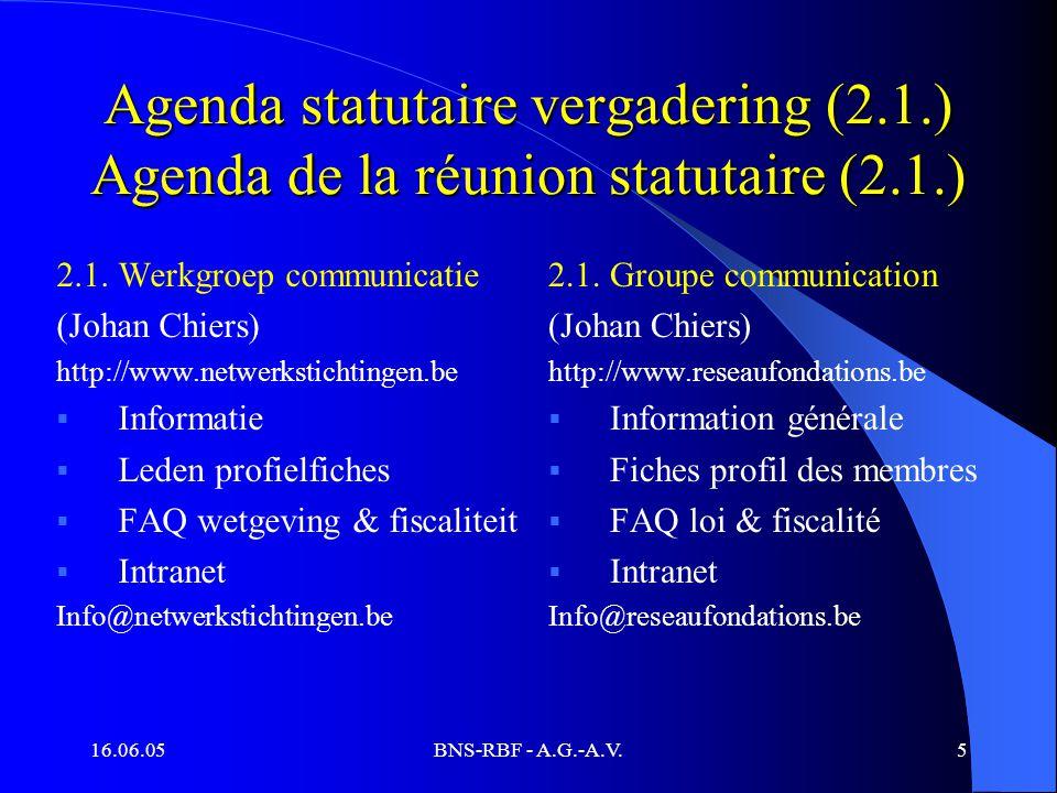 16.06.05BNS-RBF - A.G.-A.V.5 Agenda statutaire vergadering (2.1.) Agenda de la réunion statutaire (2.1.) 2.1.