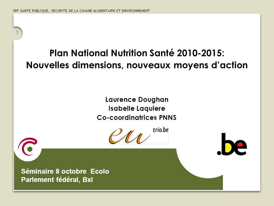 SPF SANTE PUBLIQUE, SECURITE DE LA CHAINE ALIMENTAIRE ET ENVIRONNEMENT 2 Nationaal Voedings- en Gezondheidsplan Het Nationaal Voedings- en Gezondheidsplan werd in april 2006 gelanceerd: Doel : De voedingsgewoonten verbeteren en het niveau van fysieke activiteit verhogen voor een betere gezondheid en om het aantal vermijdbare ziektes zoals hart- en vaatziekten, te hoge cholesterol, te hoge bloeddruk, type 2 diabetes, sommige soorten kanker, … te verminderen.