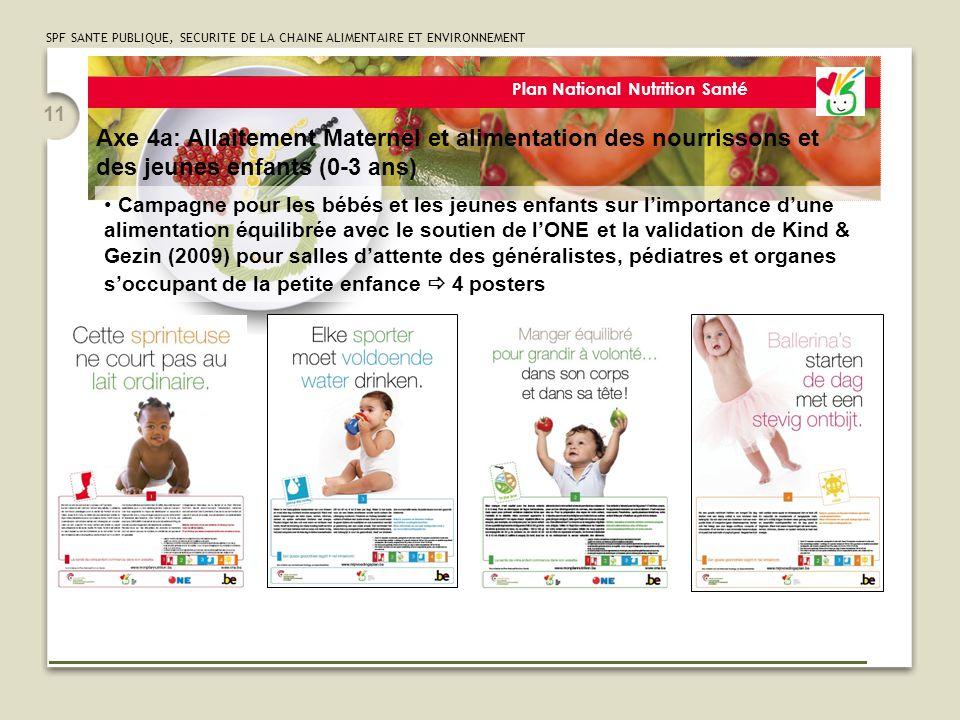 SPF SANTE PUBLIQUE, SECURITE DE LA CHAINE ALIMENTAIRE ET ENVIRONNEMENT 11 Plan National Nutrition Santé Campagne pour les bébés et les jeunes enfants