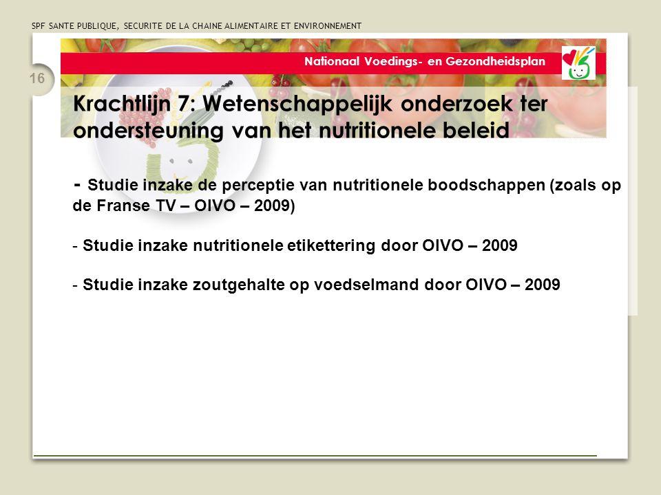 SPF SANTE PUBLIQUE, SECURITE DE LA CHAINE ALIMENTAIRE ET ENVIRONNEMENT 16 Nationaal Voedings- en Gezondheidsplan Krachtlijn 7: Wetenschappelijk onderzoek ter ondersteuning van het nutritionele beleid - Studie inzake de perceptie van nutritionele boodschappen (zoals op de Franse TV – OIVO – 2009) - Studie inzake nutritionele etikettering door OIVO – 2009 - Studie inzake zoutgehalte op voedselmand door OIVO – 2009