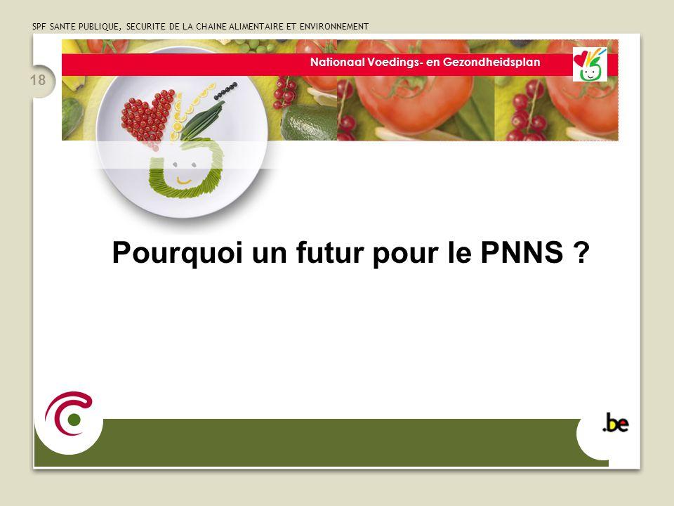 SPF SANTE PUBLIQUE, SECURITE DE LA CHAINE ALIMENTAIRE ET ENVIRONNEMENT 18 Nationaal Voedings- en Gezondheidsplan Pourquoi un futur pour le PNNS ?