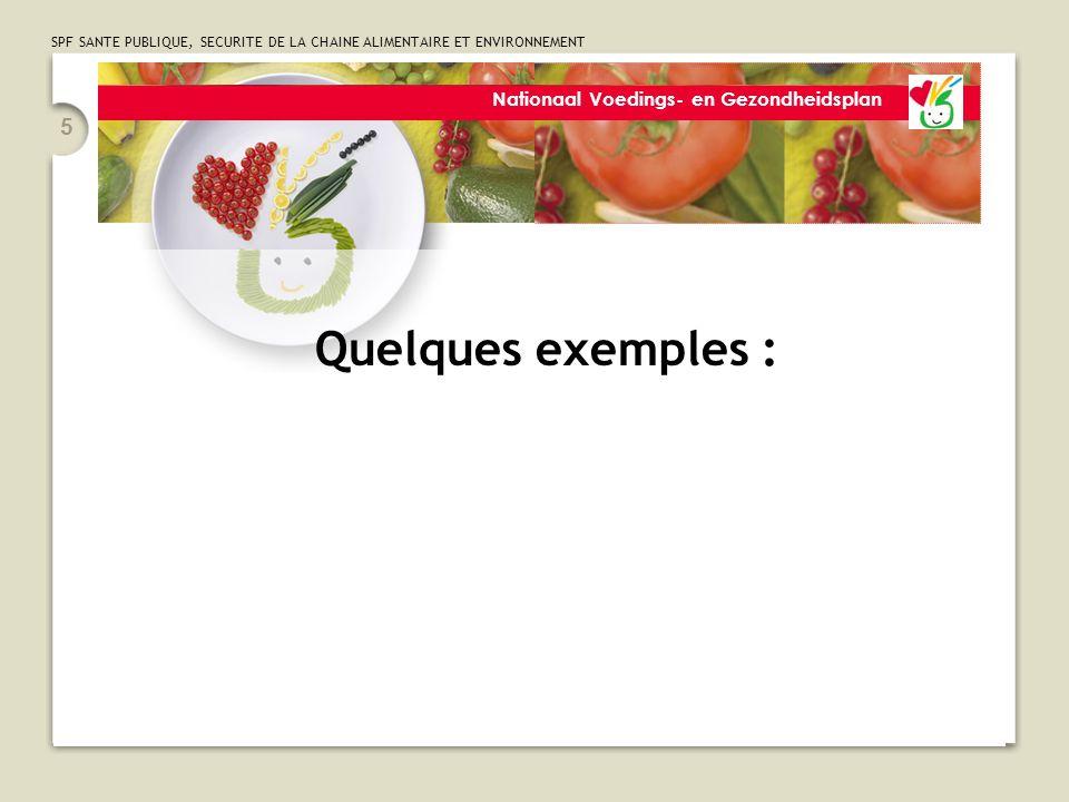 SPF SANTE PUBLIQUE, SECURITE DE LA CHAINE ALIMENTAIRE ET ENVIRONNEMENT 26 Plan National Nutrition Santé 6.