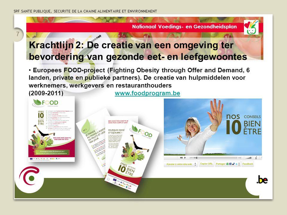SPF SANTE PUBLIQUE, SECURITE DE LA CHAINE ALIMENTAIRE ET ENVIRONNEMENT 7 Europees FOOD-project (Fighting Obesity through Offer and Demand, 6 landen, p