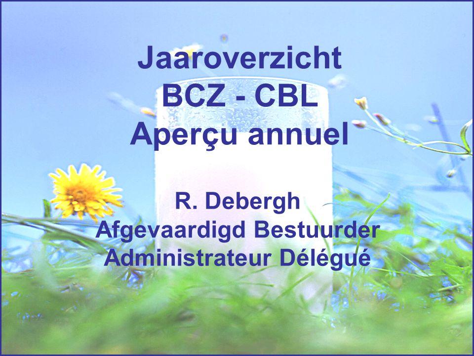 Jaaroverzicht BCZ - CBL Aperçu annuel R. Debergh Afgevaardigd Bestuurder Administrateur Délégué