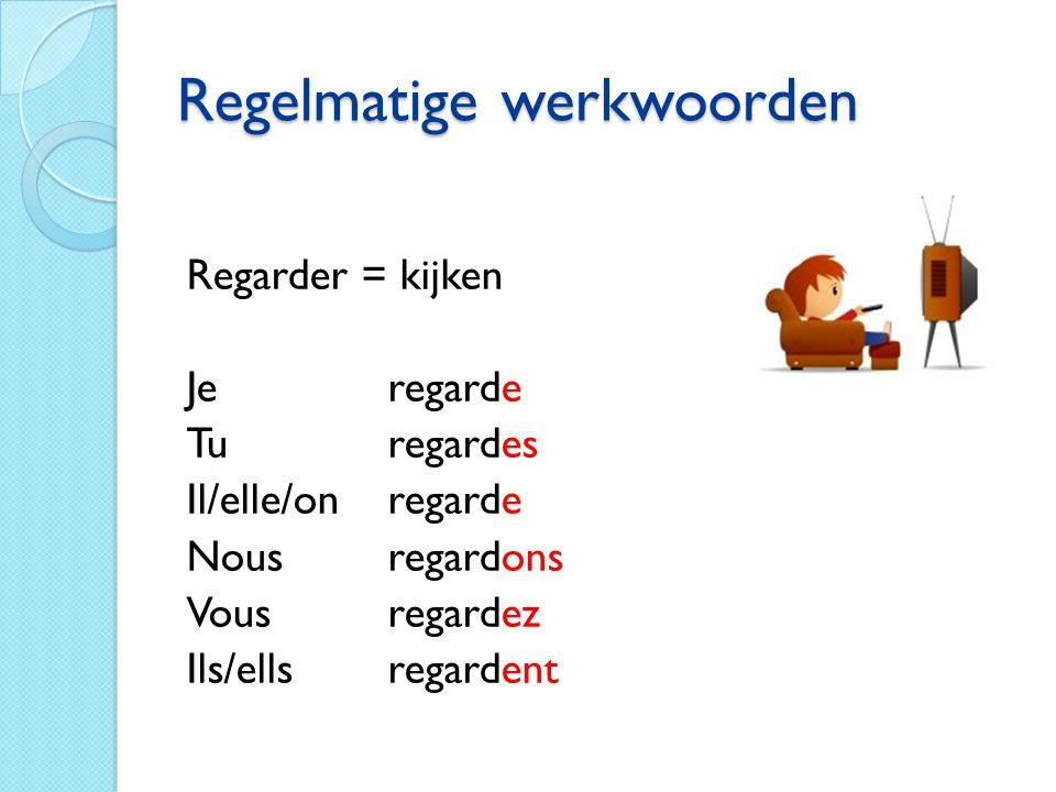 Regelmatige werkwoorden Parler = praten Vul in: Je parl… Tu parl… Il/elle/onparl… Nousparl… Vous parl… Ils/ellesparl…
