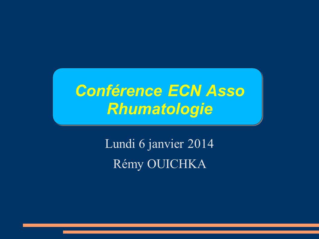Conférence ECN Asso Rhumatologie Lundi 6 janvier 2014 Rémy OUICHKA