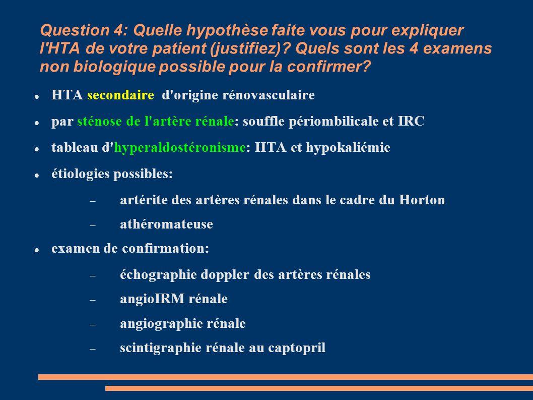 Question 4: Quelle hypothèse faite vous pour expliquer l'HTA de votre patient (justifiez)? Quels sont les 4 examens non biologique possible pour la co