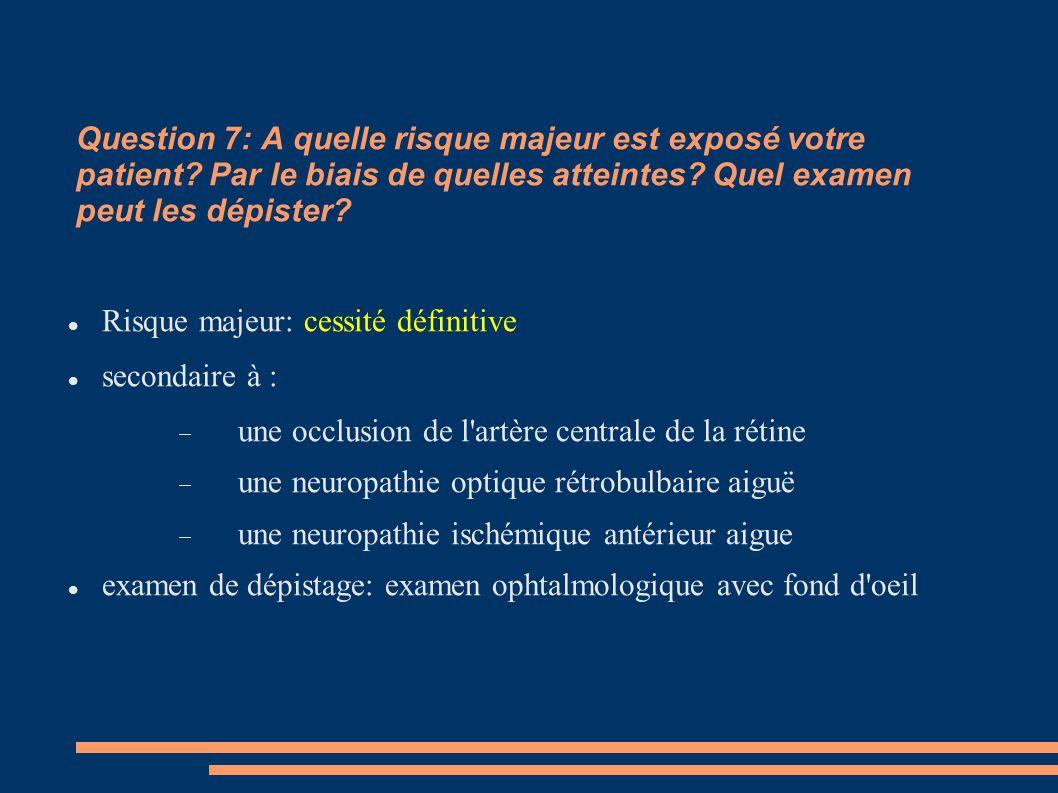 Question 7: A quelle risque majeur est exposé votre patient? Par le biais de quelles atteintes? Quel examen peut les dépister? Risque majeur: cessité