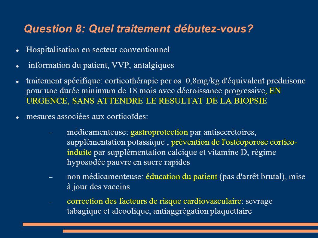 Question 8: Quel traitement débutez-vous? Hospitalisation en secteur conventionnel information du patient, VVP, antalgiques traitement spécifique: cor