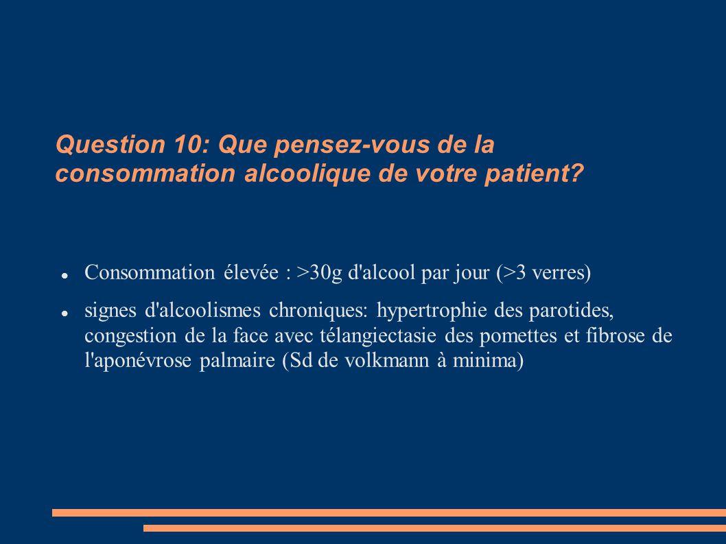Question 10: Que pensez-vous de la consommation alcoolique de votre patient? Consommation élevée : >30g d'alcool par jour (>3 verres) signes d'alcooli