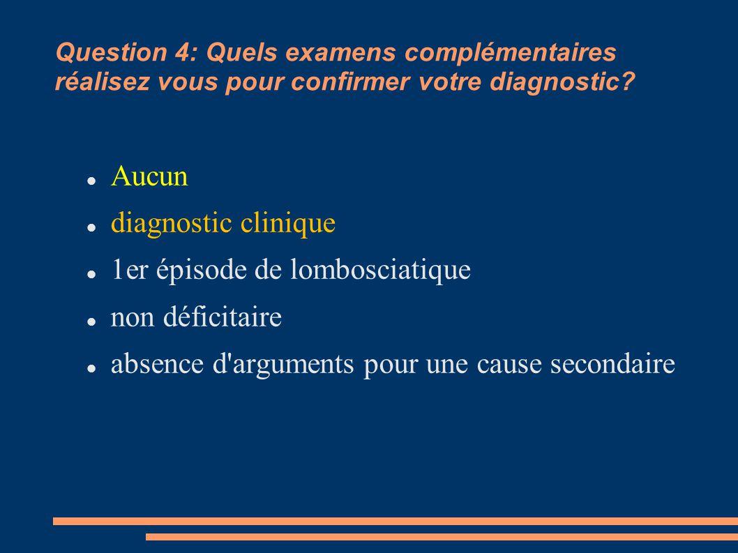 Question 4: Quels examens complémentaires réalisez vous pour confirmer votre diagnostic? Aucun diagnostic clinique 1er épisode de lombosciatique non d