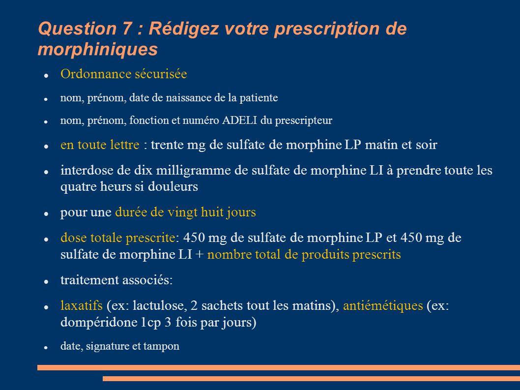Question 7 : Rédigez votre prescription de morphiniques Ordonnance sécurisée nom, prénom, date de naissance de la patiente nom, prénom, fonction et nu