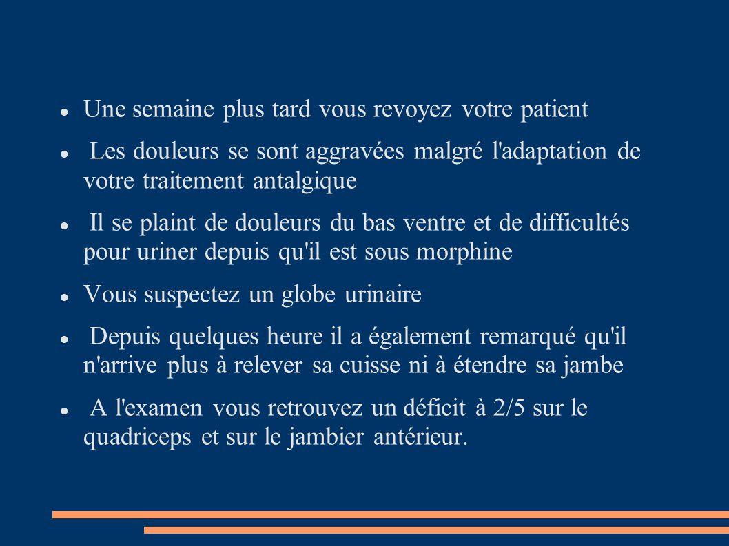 Une semaine plus tard vous revoyez votre patient Les douleurs se sont aggravées malgré l'adaptation de votre traitement antalgique Il se plaint de dou