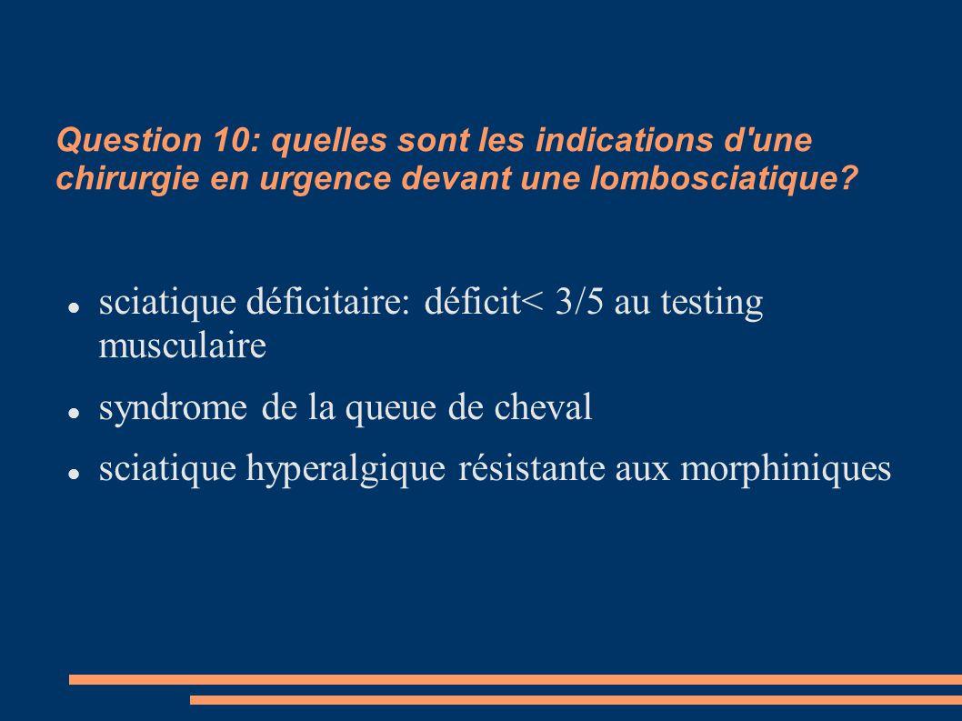 Question 10: quelles sont les indications d'une chirurgie en urgence devant une lombosciatique? sciatique déficitaire: déficit< 3/5 au testing muscula