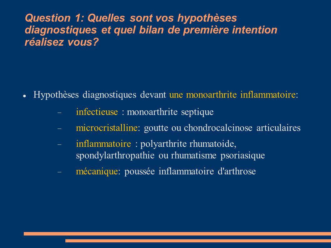 Question 1: Quelles sont vos hypothèses diagnostiques et quel bilan de première intention réalisez vous? Hypothèses diagnostiques devant une monoarthr
