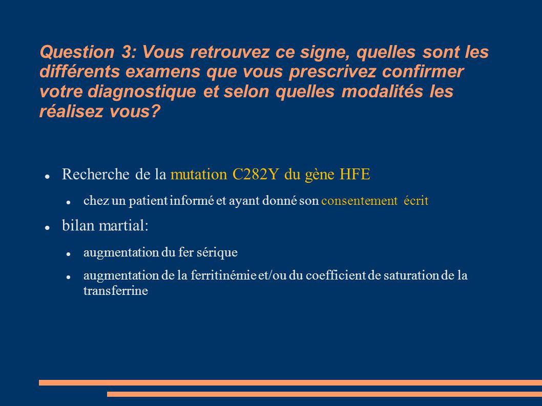 Question 3: Vous retrouvez ce signe, quelles sont les différents examens que vous prescrivez confirmer votre diagnostique et selon quelles modalités l