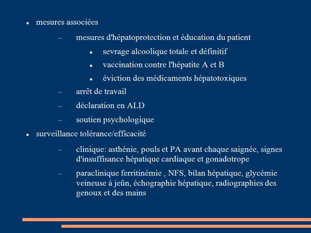 mesures associées  mesures d'hépatoprotection et éducation du patient sevrage alcoolique totale et définitif vaccination contre l'hépatite A et B évi