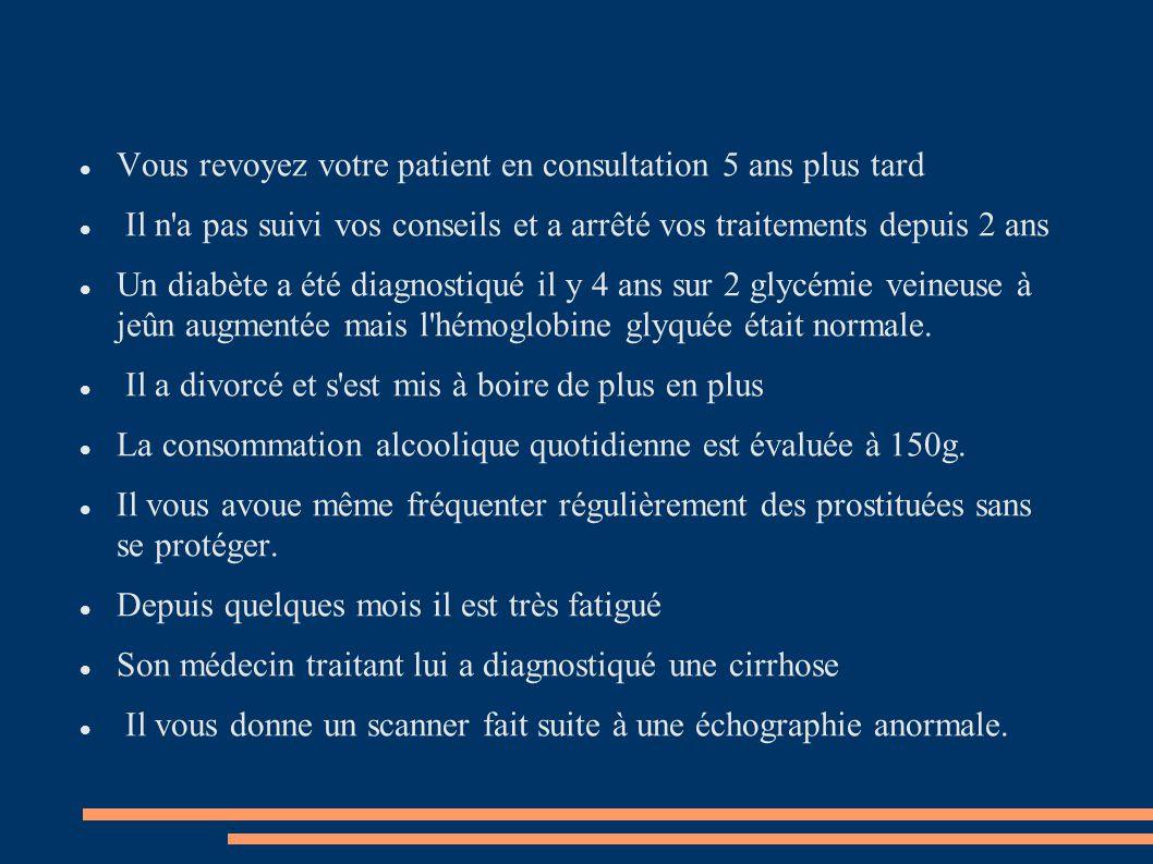 Vous revoyez votre patient en consultation 5 ans plus tard Il n'a pas suivi vos conseils et a arrêté vos traitements depuis 2 ans Un diabète a été dia
