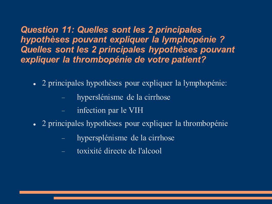 Question 11: Quelles sont les 2 principales hypothèses pouvant expliquer la lymphopénie ? Quelles sont les 2 principales hypothèses pouvant expliquer