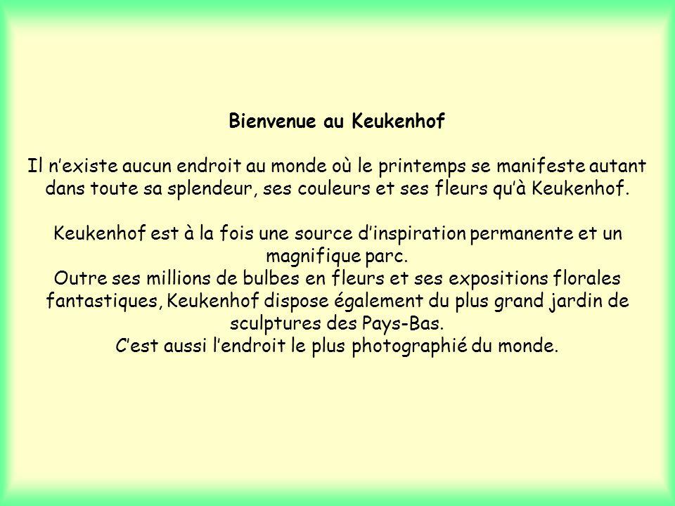 Bienvenue au Keukenhof Il n'existe aucun endroit au monde où le printemps se manifeste autant dans toute sa splendeur, ses couleurs et ses fleurs qu'à