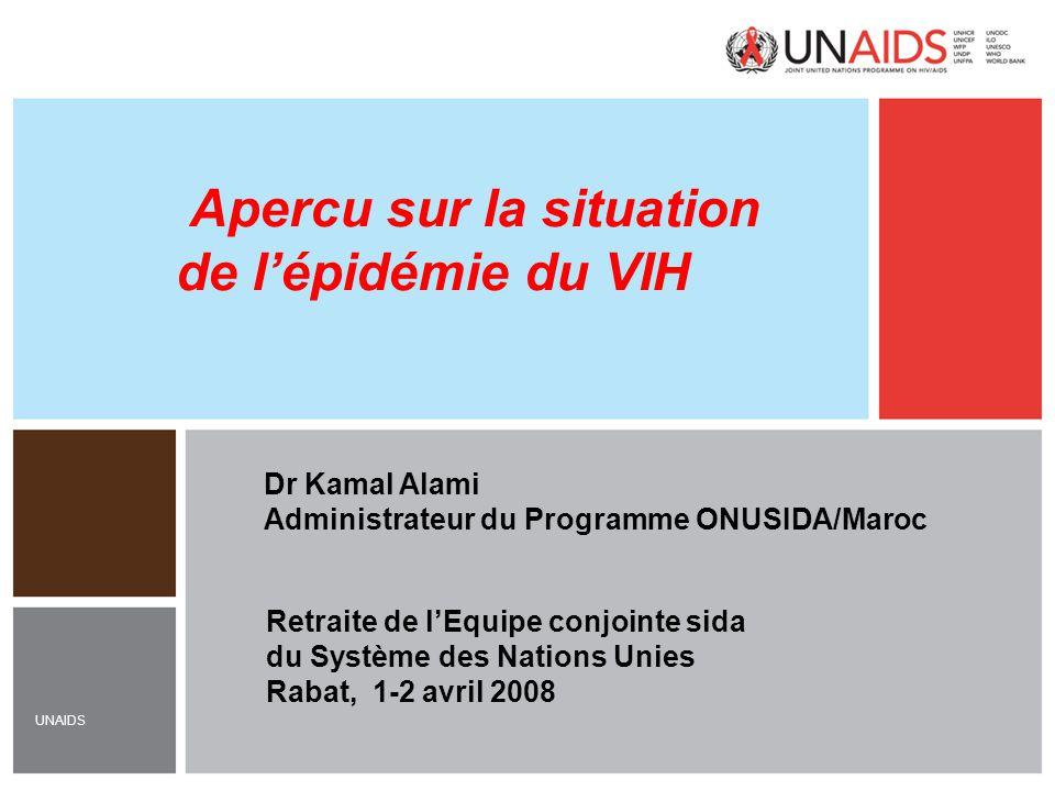 UNAIDS Dr Kamal Alami Administrateur du Programme ONUSIDA/Maroc Apercu sur la situation de l'épidémie du VIH Retraite de l'Equipe conjointe sida du Sy