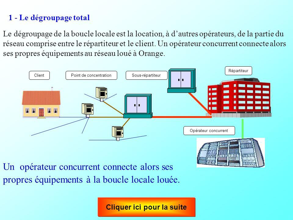 Le dégroupage permet aux opérateurs tiers d'accéder à cette boucle locale. Le dégroupage est une opération technique permettant l'ouverture du réseau