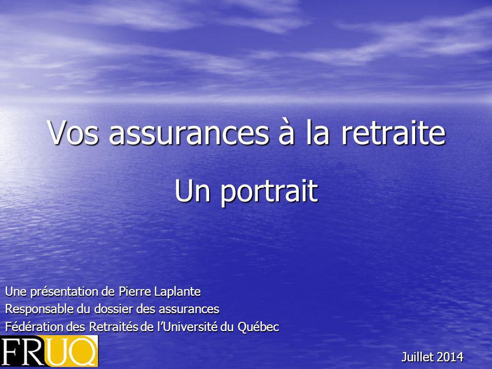 Vos assurances à la retraite Un portrait Une présentation de Pierre Laplante Responsable du dossier des assurances Fédération des Retraités de l'Université du Québec Juillet 2014