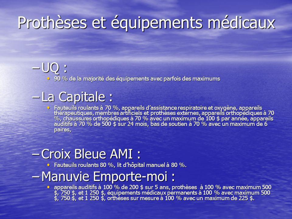 Prothèses et équipements médicaux –UQ : 90 % de la majorité des équipements avec parfois des maximums 90 % de la majorité des équipements avec parfois