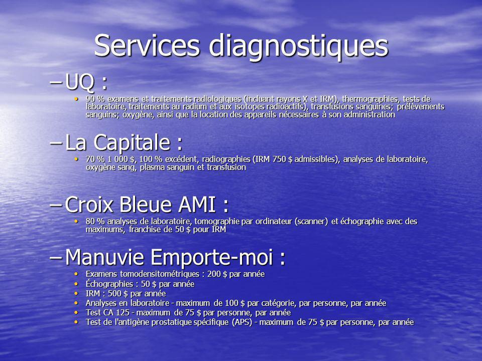 Services diagnostiques –UQ : 90 % examens et traitements radiologiques (incluant rayons X et IRM), thermographies, tests de laboratoire, traitements a