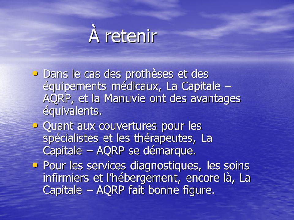 À retenir Dans le cas des prothèses et des équipements médicaux, La Capitale – AQRP, et la Manuvie ont des avantages équivalents. Dans le cas des prot