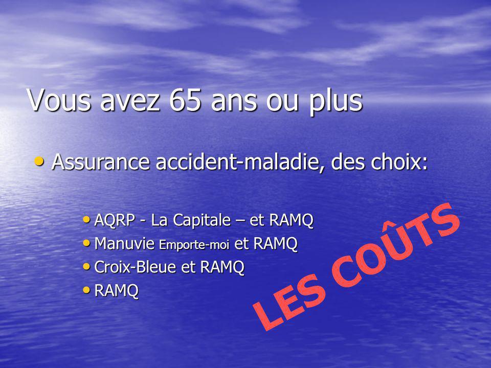Assurance accident-maladie, des choix: Assurance accident-maladie, des choix: AQRP - La Capitale – et RAMQ AQRP - La Capitale – et RAMQ Manuvie Emport
