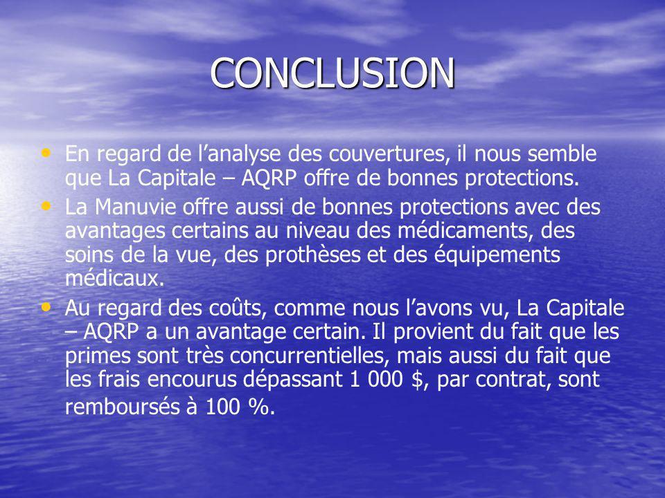 CONCLUSION En regard de l'analyse des couvertures, il nous semble que La Capitale – AQRP offre de bonnes protections. La Manuvie offre aussi de bonnes