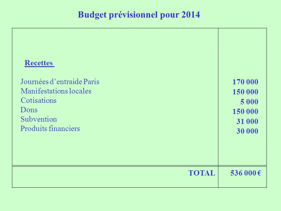 Budget prévisionnel pour 2014 Recettes Journées d'entraide Paris Manifestations locales Cotisations Dons Subvention Produits financiers 170 000 150 000 5 000 150 000 31 000 30 000 TOTAL 536 000 €
