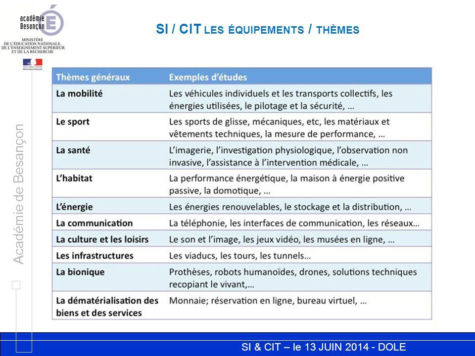 SI & CIT – le 13 JUIN 2014 - DOLE Académie de Besançon SI / CIT LES ÉQUIPEMENTS / THÈMES