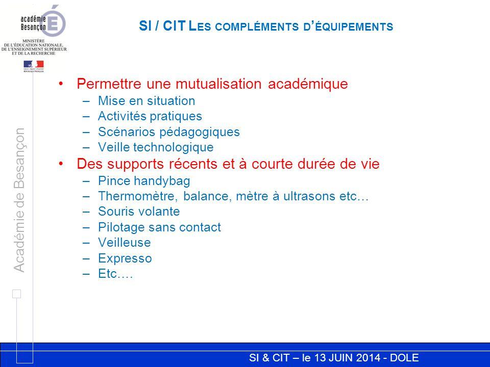 SI & CIT – le 13 JUIN 2014 - DOLE Académie de Besançon SI / CIT L ES COMPLÉMENTS D ' ÉQUIPEMENTS Permettre une mutualisation académique –Mise en situa