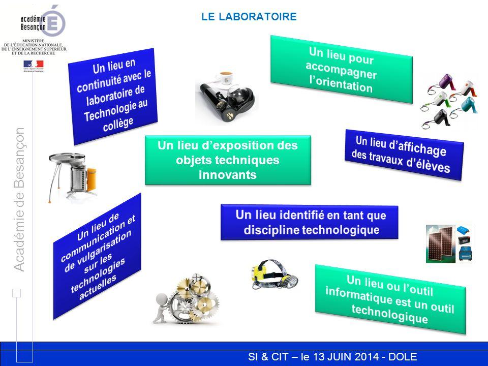 SI & CIT – le 13 JUIN 2014 - DOLE Académie de Besançon SI / CIT ET LE LABORATOIRE Il n'y a pas lieu de mettre en place un espace aménagé en face à face !