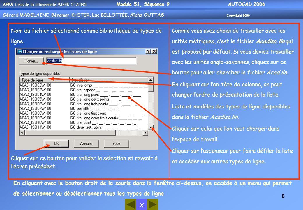 x AFPA 1 rue de la citoyenneté 93245 STAINS Module 51, Séquence 9 AUTOCAD 2006 Gérard MADELAINE, Bénamar KHITER, Luc BILLOTTÉE, Aïcha OUTTAS Copyright 2006 19  Enregistrer son travail (procédure valable pour les travaux d'entraînement et le TP de validation) Procédure comme suit: 1- cliquer sur « fichier » de Autocad 2- cliquer sur « enregistrer sous » 3- élargir la sélection avec le petit triangle 4- Cliquer sur Bureau 5- double cliquer sur votre lieu de stockage pour : les utilisateurs de afpa001 à afpa025 = Stock_Group01 les utilisateurs de afpa026 à afpa050 = Stock_Group02 les utilisateurs de afpa051 à afpa075 = Stock_Group03 6 – Double cliquer sur le dossier de votre compte (ex : afpa0xx ) 7 – Éventuellement positionnez vous dans l'un de vos sous dossiers de travail en double cliquant sur celui-ci ( ex : Module_02 ) 8 – taper un nom de votre chef d'œuvre ( sic ).