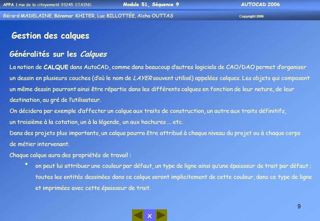 x AFPA 1 rue de la citoyenneté 93245 STAINS Module 51, Séquence 9 AUTOCAD 2006 Gérard MADELAINE, Bénamar KHITER, Luc BILLOTTÉE, Aïcha OUTTAS Copyright 2006 20  Rappel : -Afin de vous permettre de mener à bien le TP, nous vous rappelons que vous pouvez utiliser les outils d'aide mis à votre disposition : 1- Par l'aide d'AutoCAD (?) 2- Par vos notes personnelles, des modules précédents Exemple:tapez le mot cercle puis cliquez sur Rechercher cliquez sur le Titre qu'on souhaite On aura cette boite de dialogue à manipuler