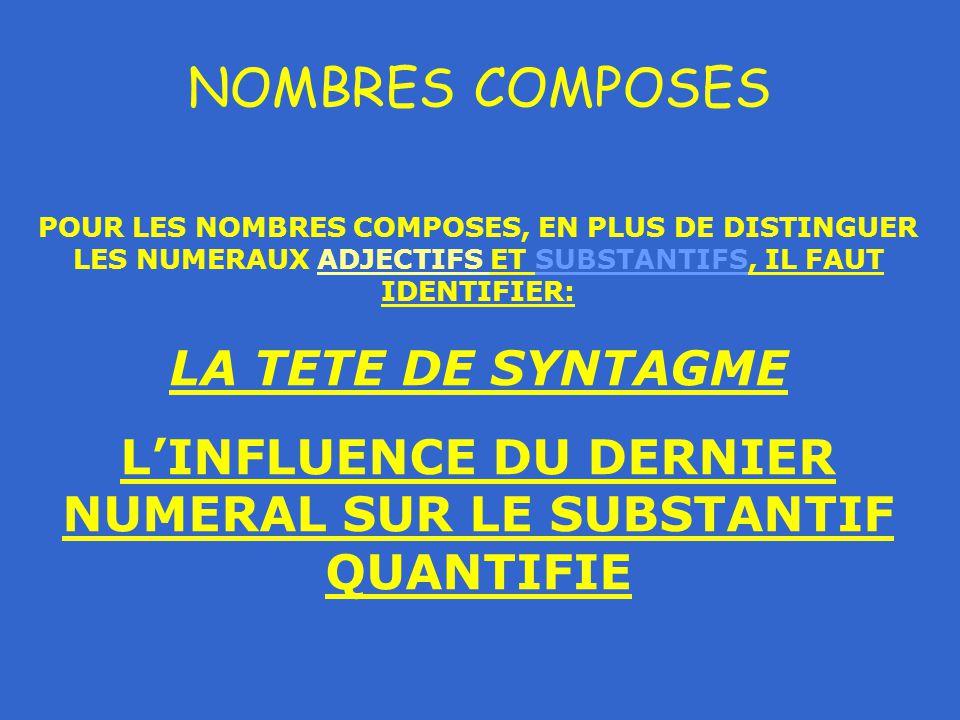 NOMBRES COMPOSES POUR LES NOMBRES COMPOSES, EN PLUS DE DISTINGUER LES NUMERAUX ADJECTIFS ET SUBSTANTIFS, IL FAUT IDENTIFIER: LA TETE DE SYNTAGME L'INFLUENCE DU DERNIER NUMERAL SUR LE SUBSTANTIF QUANTIFIE