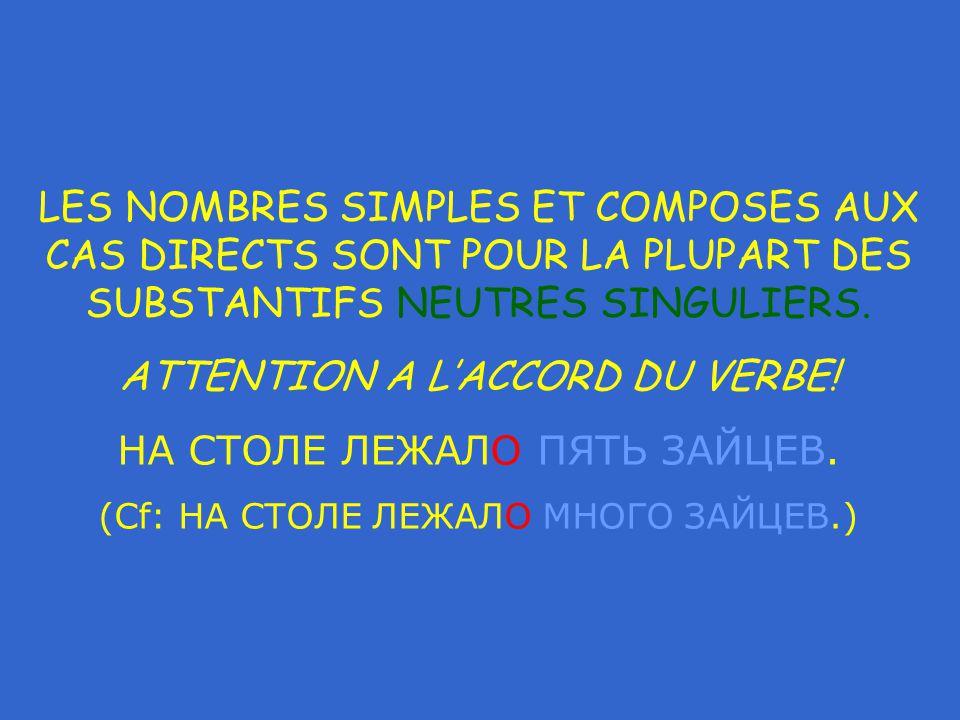 LES NOMBRES SIMPLES ET COMPOSES AUX CAS DIRECTS SONT POUR LA PLUPART DES SUBSTANTIFS NEUTRES SINGULIERS.