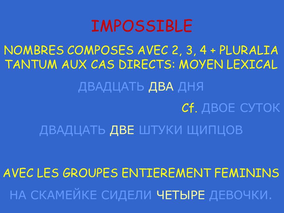 IMPOSSIBLE NOMBRES COMPOSES AVEC 2, 3, 4 + PLURALIA TANTUM AUX CAS DIRECTS: MOYEN LEXICAL ДВАДЦАТЬ ДВА ДНЯ Cf.