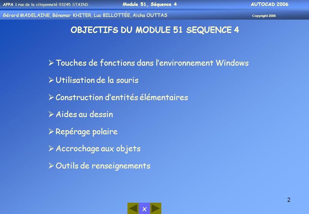 x AFPA 1 rue de la citoyenneté 93245 STAINS Module 51, Séquence 4 AUTOCAD 2006 Gérard MADELAINE, Bénamar KHITER, Luc BILLOTTÉE, Aïcha OUTTAS Copyright 2006 2 OBJECTIFS DU MODULE 51 SEQUENCE 4  Touches de fonctions dans l'environnement Windows  Utilisation de la souris  Construction d'entités élémentaires  Aides au dessin  Repérage polaire  Accrochage aux objets  Outils de renseignements