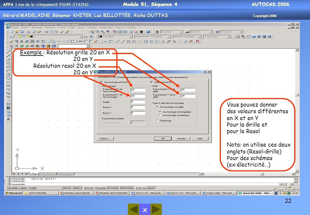 x AFPA 1 rue de la citoyenneté 93245 STAINS Module 51, Séquence 4 AUTOCAD 2006 Gérard MADELAINE, Bénamar KHITER, Luc BILLOTTÉE, Aïcha OUTTAS Copyright 2006 22 Exemple : Résolution grille 20 en X 20 en Y Résolution resol 20 en X 20 en Y Vous pouvez donner des valeurs différentes en X et en Y Pour la Grille et pour le Resol Nota: on utilise ces deux onglets (Resol-Grille) Pour des schémas (ex:électricité…).