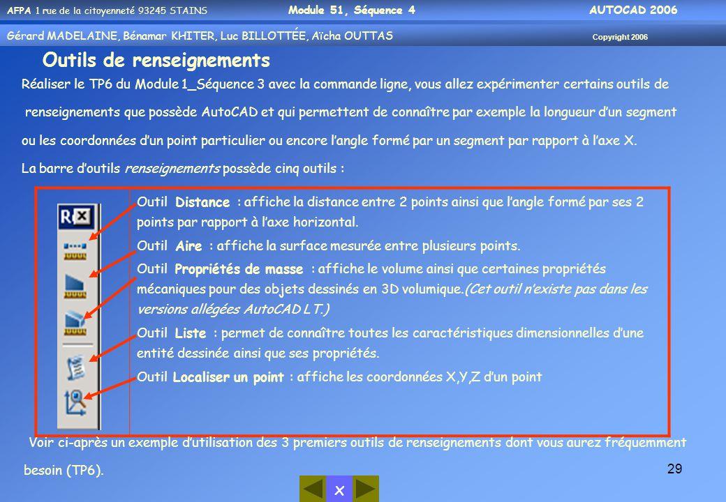 x AFPA 1 rue de la citoyenneté 93245 STAINS Module 51, Séquence 4 AUTOCAD 2006 Gérard MADELAINE, Bénamar KHITER, Luc BILLOTTÉE, Aïcha OUTTAS Copyright 2006 29 Outils de renseignements Réaliser le TP6 du Module 1_Séquence 3 avec la commande ligne, vous allez expérimenter certains outils de renseignements que possède AutoCAD et qui permettent de connaître par exemple la longueur d'un segment ou les coordonnées d'un point particulier ou encore l'angle formé par un segment par rapport à l'axe X.