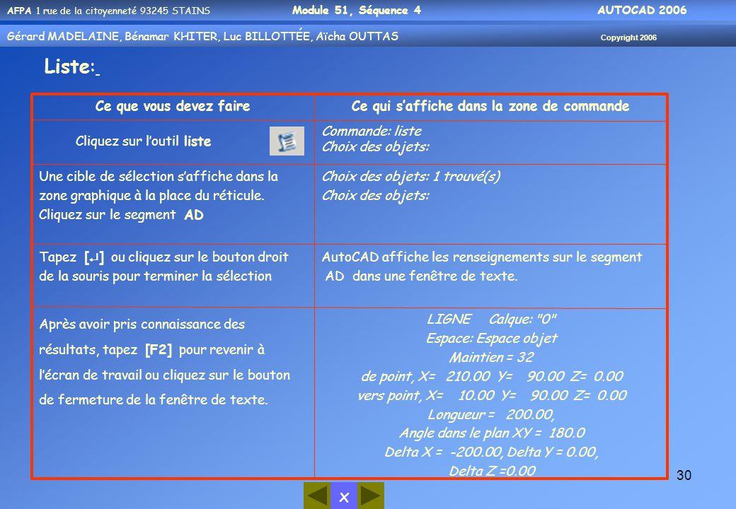 x AFPA 1 rue de la citoyenneté 93245 STAINS Module 51, Séquence 4 AUTOCAD 2006 Gérard MADELAINE, Bénamar KHITER, Luc BILLOTTÉE, Aïcha OUTTAS Copyright 2006 30 LIGNE Calque: 0 Espace: Espace objet Maintien = 32 de point, X= 210.00 Y= 90.00 Z= 0.00 vers point, X= 10.00 Y= 90.00 Z= 0.00 Longueur = 200.00, Angle dans le plan XY = 180.0 Delta X = -200.00, Delta Y = 0.00, Delta Z =0.00 Après avoir pris connaissance des résultats, tapez [F2] pour revenir à l'écran de travail ou cliquez sur le bouton de fermeture de la fenêtre de texte.